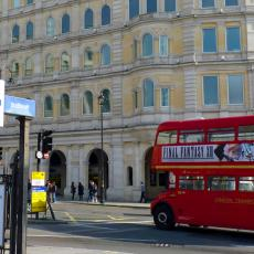 Red bus in Trafalgar Square London