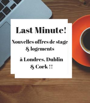 last-minute-nouvelles-offres-stages-hébergements-londres-dublin-cork
